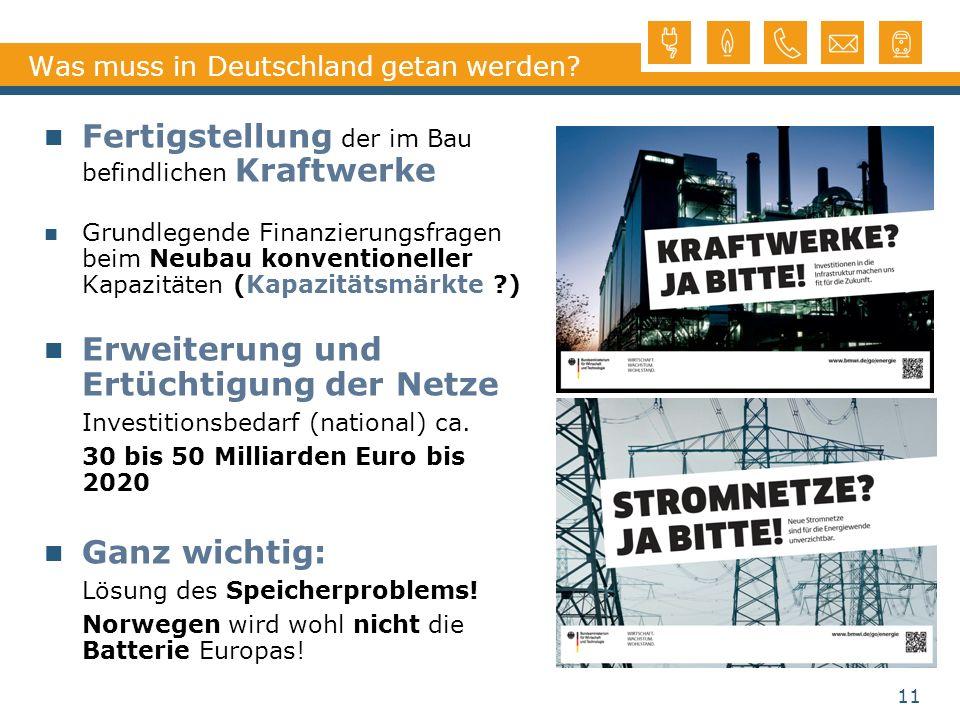 Was muss in Deutschland getan werden? Fertigstellung der im Bau befindlichen Kraftwerke Grundlegende Finanzierungsfragen beim Neubau konventioneller K