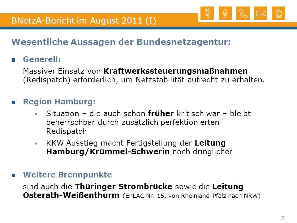 BNetzA-Bericht im August 2011 (I) Wesentliche Aussagen der Bundesnetzagentur: Generell: Massiver Einsatz von Kraftwerkssteuerungsmaßnahmen (Redispatch