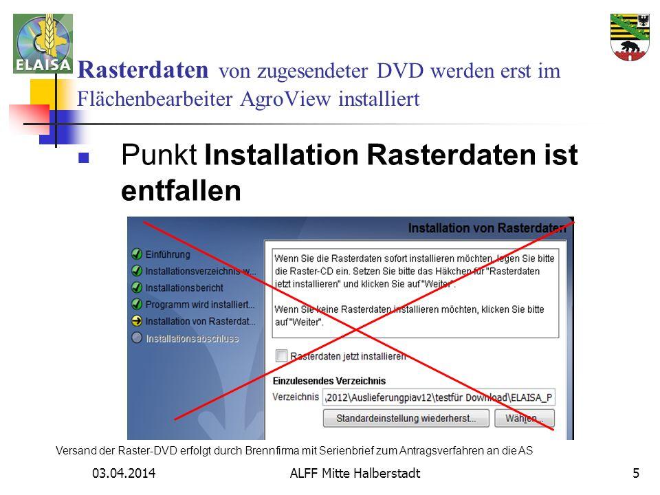03.04.2014 ALFF Mitte Halberstadt5 Rasterdaten von zugesendeter DVD werden erst im Flächenbearbeiter AgroView installiert Punkt Installation Rasterdat