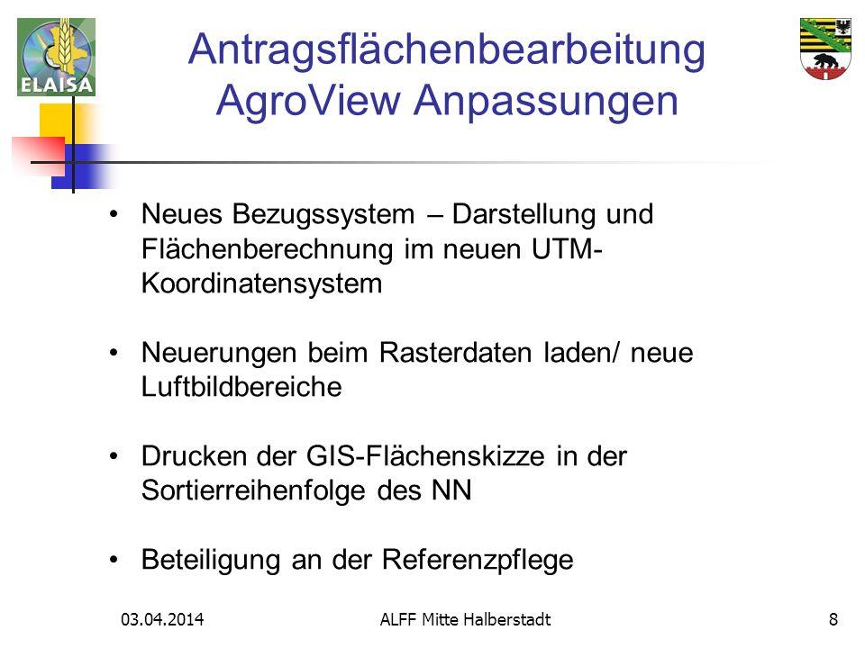 03.04.2014 ALFF Mitte Halberstadt9 Das neue Bezugssystem ETRS89/ UTM (Zone 32) ist in AgroView hinterlegt und ersetzt das bisher verwendete Bezugssystem GK4/ LS110.