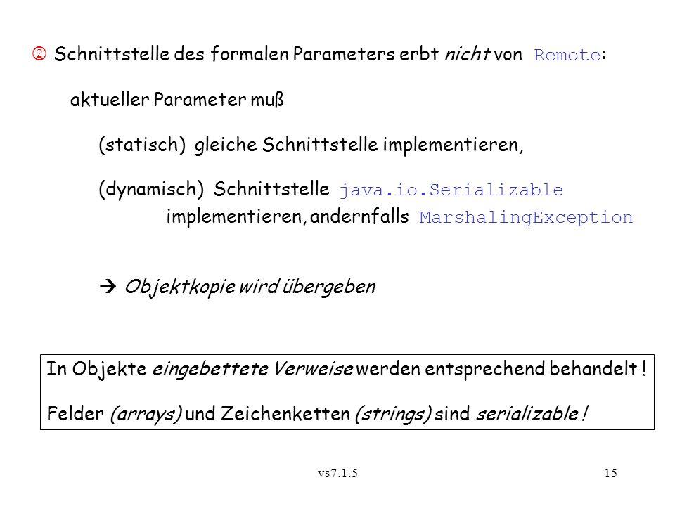 vs7.1.515 Schnittstelle des formalen Parameters erbt nicht von Remote : aktueller Parameter muß (statisch) gleiche Schnittstelle implementieren, (dynamisch) Schnittstelle java.io.Serializable implementieren, andernfalls MarshalingException Objektkopie wird übergeben In Objekte eingebettete Verweise werden entsprechend behandelt .