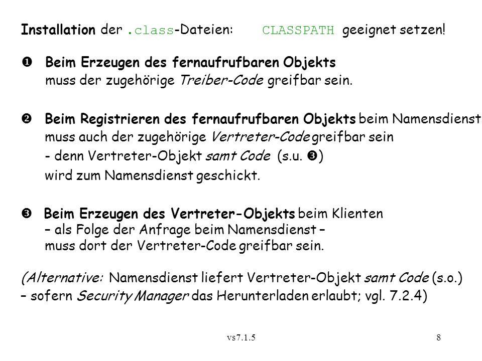vs7.1.58 Installation der.class -Dateien: CLASSPATH geeignet setzen.