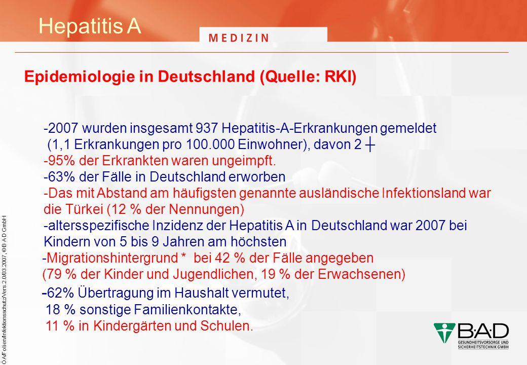 ÖA/Folien/Infektionsschutz/Vers.2.0/03.2007, © B·A·D GmbH Hepatitis A Epidemiologie in Deutschland (Quelle: RKI) -2007 wurden insgesamt 937 Hepatitis-