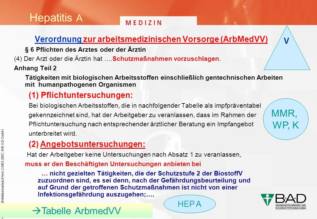 ÖA/Folien/Infektionsschutz/Vers.2.0/03.2007, © B·A·D GmbH Verordnung zur arbeitsmedizinischen Vorsorge (ArbMedVV) § 6 Pflichten des Arztes oder der Är