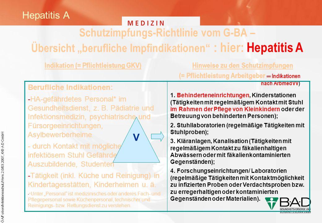 ÖA/Folien/Infektionsschutz/Vers.2.0/03.2007, © B·A·D GmbH Schutzimpfungs-Richtlinie vom G-BA – Übersicht berufliche Impfindikationen : hier: Hepatitis