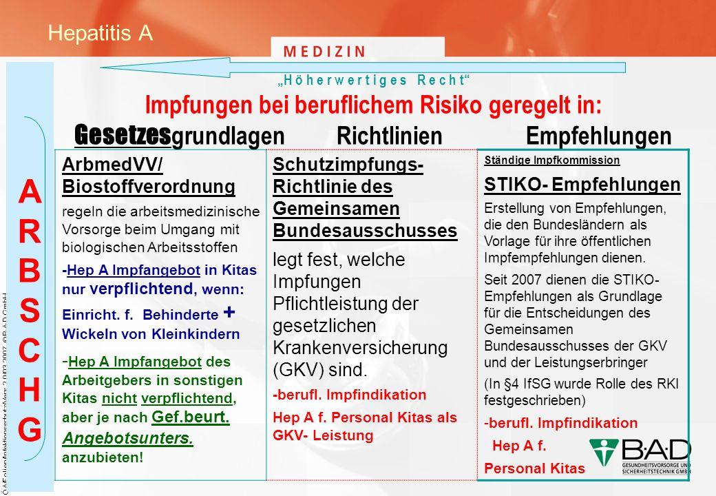 ÖA/Folien/Infektionsschutz/Vers.2.0/03.2007, © B·A·D GmbH H ö h e r w e r t i g e s R e c h t Impfungen bei beruflichem Risiko geregelt in: Gesetzes g