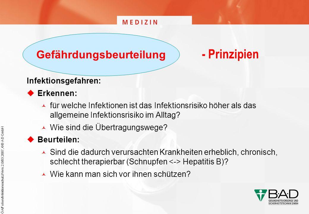 ÖA/Folien/Infektionsschutz/Vers.2.0/03.2007, © B·A·D GmbH - Prinzipien Infektionsgefahren: Erkennen: für welche Infektionen ist das Infektionsrisiko h