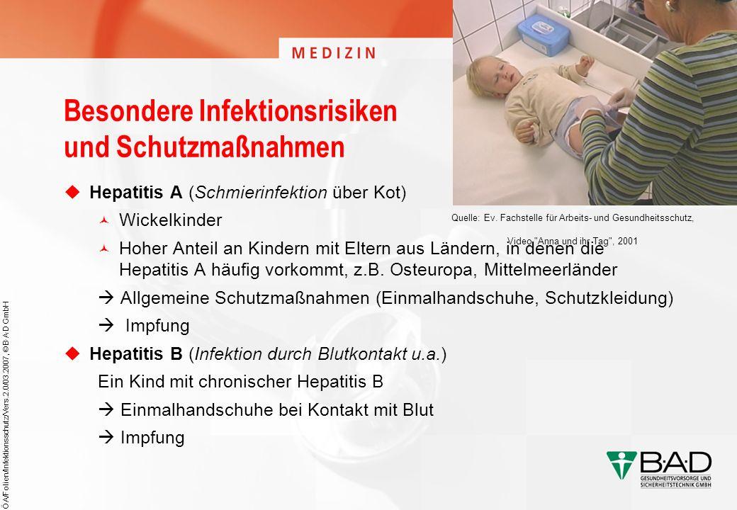 ÖA/Folien/Infektionsschutz/Vers.2.0/03.2007, © B·A·D GmbH Besondere Infektionsrisiken und Schutzmaßnahmen Hepatitis A (Schmierinfektion über Kot) Wick