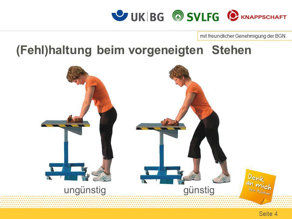 Sitzen am Bildschirmarbeitsplatz - Beinfreiheit Ausreichende Beinfreiheit Hindernisse (z.