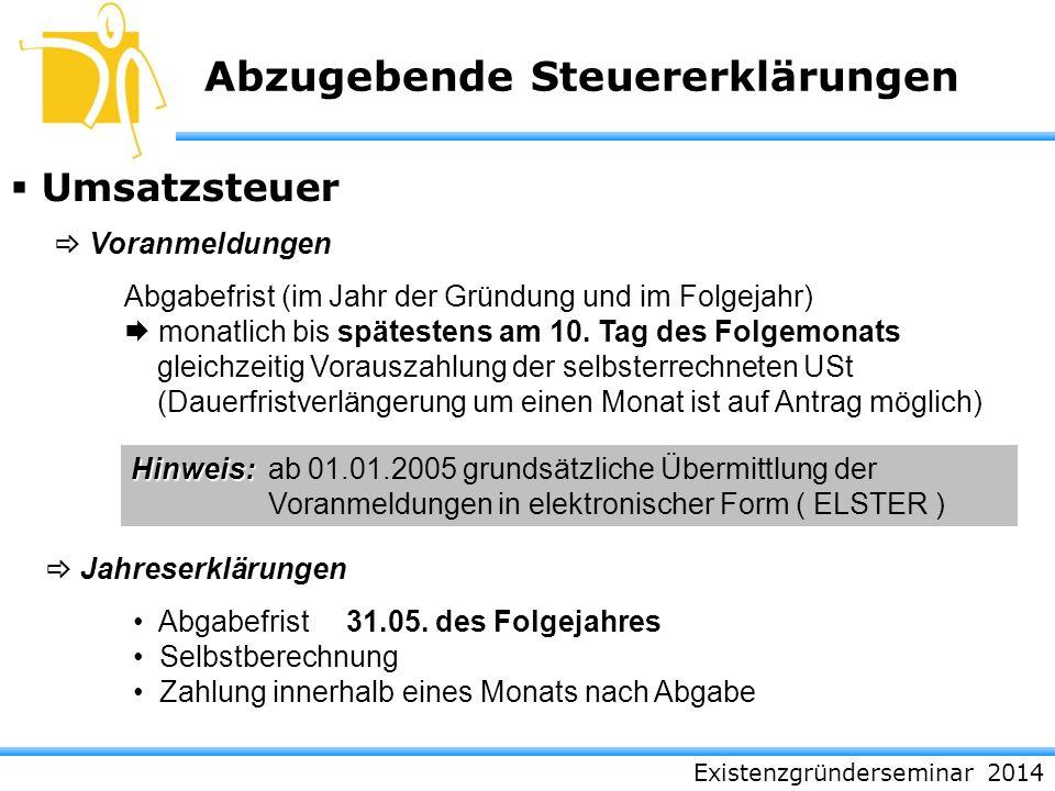 Existenzgründerseminar 2014 Abzugebende Steuererklärungen Umsatzsteuer Voranmeldungen Jahreserklärungen Abgabefrist (im Jahr der Gründung und im Folge