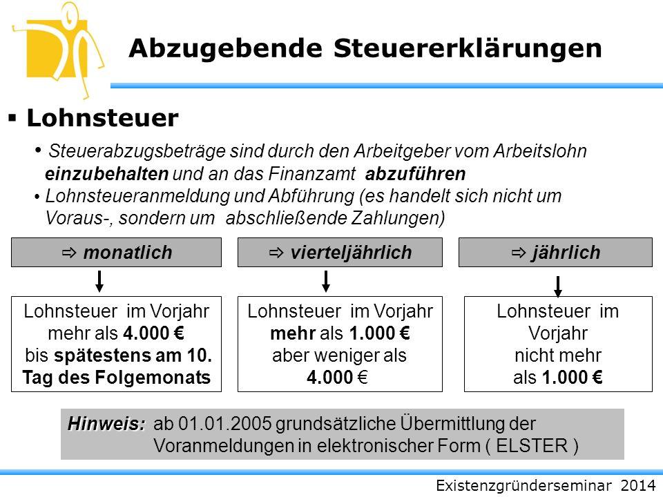 Existenzgründerseminar 2014 Abzugebende Steuererklärungen Lohnsteuer monatlich Hinweis: Hinweis: ab 01.01.2005 grundsätzliche Übermittlung der Voranme