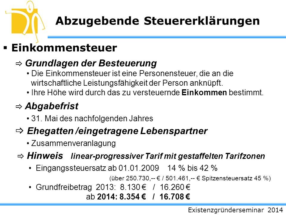Existenzgründerseminar 2014 Abzugebende Steuererklärungen Einkommensteuer Grundlagen der Besteuerung Abgabefrist Ehegatten /eingetragene Lebenspartner