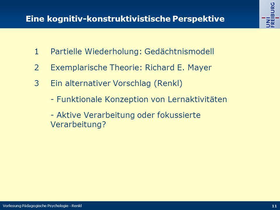 Vorlesung Pädagogische Psychologie - Renkl 11 Eine kognitiv-konstruktivistische Perspektive 1Partielle Wiederholung: Gedächtnismodell 2Exemplarische T