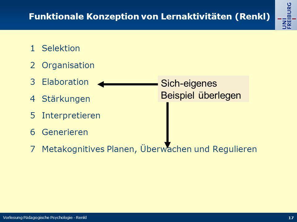 Vorlesung Pädagogische Psychologie - Renkl 17 1Selektion 2Organisation 3Elaboration 4Stärkungen 5Interpretieren 6Generieren 7Metakognitives Planen, Üb