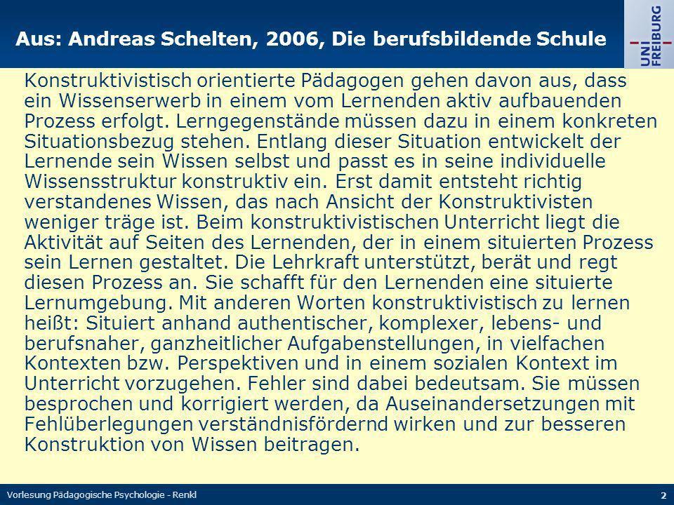 Vorlesung Pädagogische Psychologie - Renkl 23 Die Balance macht s Balance bzgl.