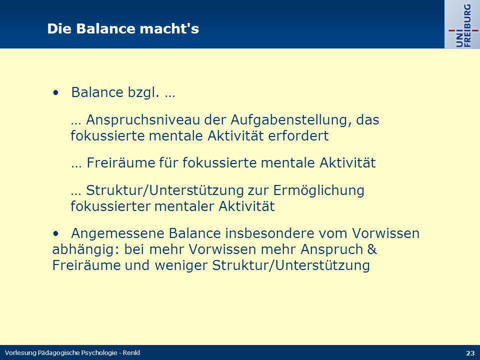 Vorlesung Pädagogische Psychologie - Renkl 23 Die Balance macht's Balance bzgl. … … Anspruchsniveau der Aufgabenstellung, das fokussierte mentale Akti