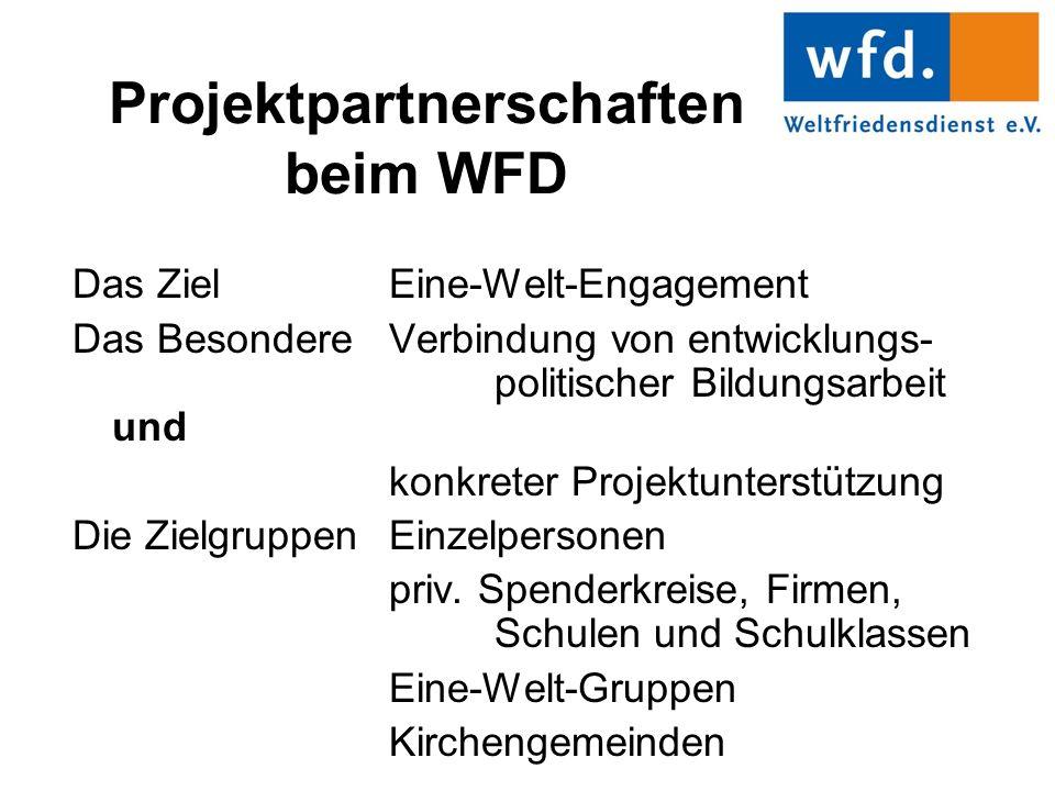 Projektpartnerschaften beim WFD Das Ziel Eine-Welt-Engagement Das Besondere Verbindung von entwicklungs- politischer Bildungsarbeit und konkreter Projektunterstützung Die ZielgruppenEinzelpersonen priv.
