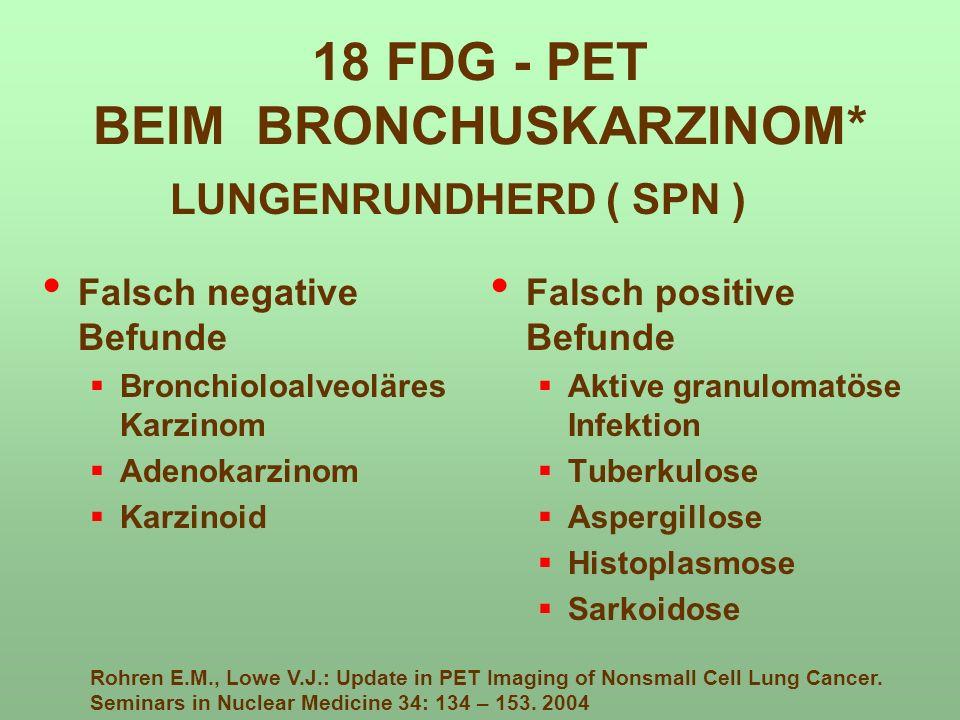 Falsch negative Befunde Bronchioloalveoläres Karzinom Adenokarzinom Karzinoid Falsch positive Befunde Aktive granulomatöse Infektion Tuberkulose Asper