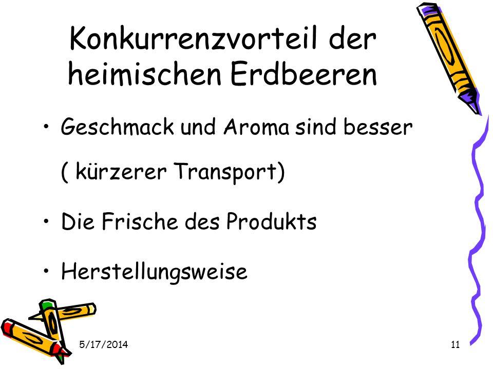 5/17/201411 Konkurrenzvorteil der heimischen Erdbeeren Geschmack und Aroma sind besser ( kürzerer Transport) Die Frische des Produkts Herstellungsweise