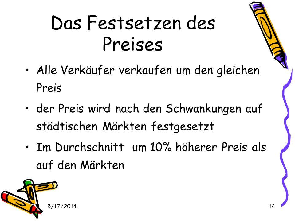 5/17/201414 Das Festsetzen des Preises Alle Verkäufer verkaufen um den gleichen Preis der Preis wird nach den Schwankungen auf städtischen Märkten festgesetzt Im Durchschnitt um 10% höherer Preis als auf den Märkten