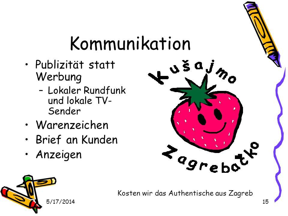 5/17/201415 Kommunikation Publizität statt Werbung –Lokaler Rundfunk und lokale TV- Sender Warenzeichen Brief an Kunden Anzeigen Kosten wir das Authentische aus Zagreb