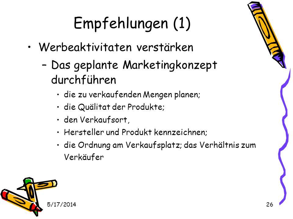 5/17/201426 Empfehlungen (1) Werbeaktivitaten verstärken –Das geplante Marketingkonzept durchführen die zu verkaufenden Mengen planen; die Quälitat der Produkte; den Verkaufsort, Hersteller und Produkt kennzeichnen; die Ordnung am Verkaufsplatz; das Verhältnis zum Verkäufer