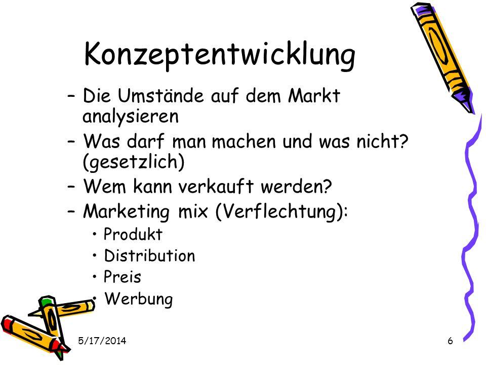 5/17/20146 Konzeptentwicklung –Die Umstände auf dem Markt analysieren –Was darf man machen und was nicht.