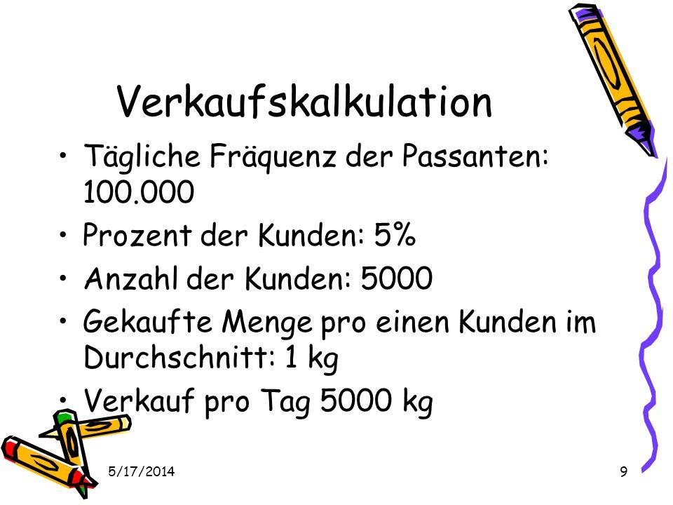 5/17/20149 Verkaufskalkulation Tägliche Fräquenz der Passanten: 100.000 Prozent der Kunden: 5% Anzahl der Kunden: 5000 Gekaufte Menge pro einen Kunden im Durchschnitt: 1 kg Verkauf pro Tag 5000 kg