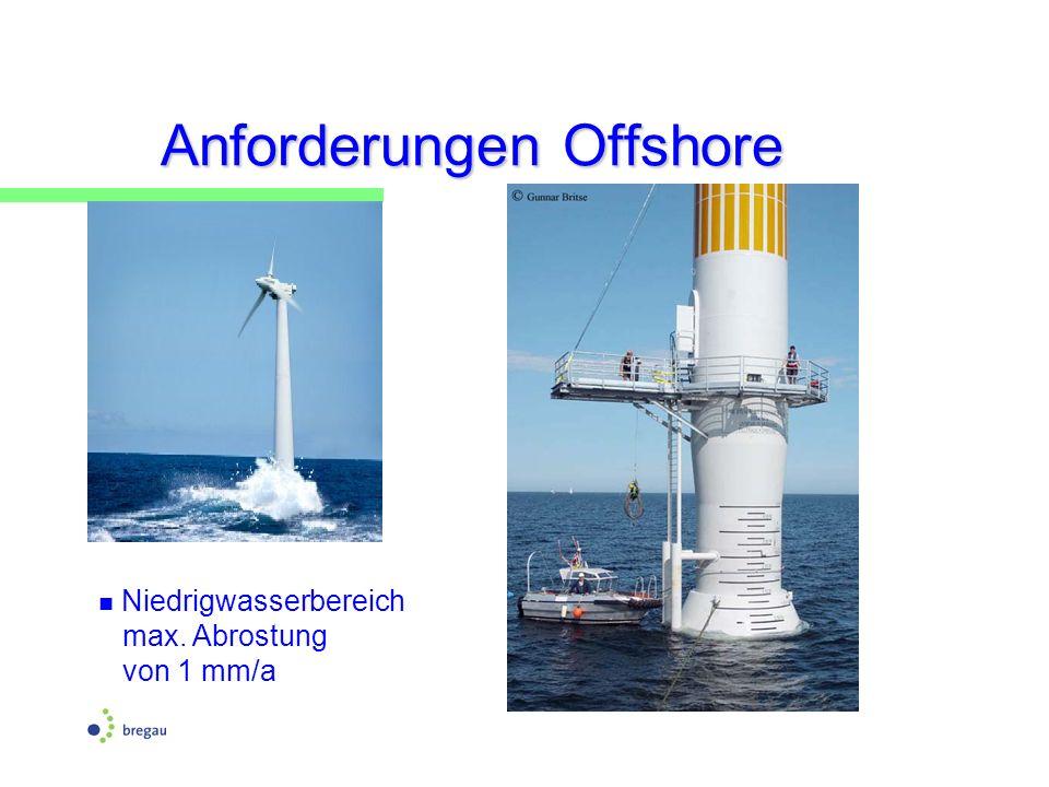 Anforderungen Offshore Niedrigwasserbereich max. Abrostung von 1 mm/a