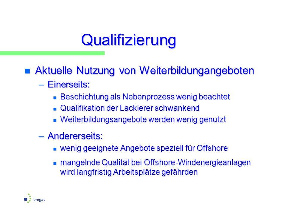 Qualifizierung n Aktuelle Nutzung von Weiterbildungangeboten –Einerseits: n Beschichtung als Nebenprozess wenig beachtet n Qualifikation der Lackierer
