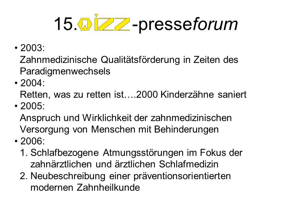 2003: Zahnmedizinische Qualitätsförderung in Zeiten des Paradigmenwechsels 2004: Retten, was zu retten ist….2000 Kinderzähne saniert 2005: Anspruch und Wirklichkeit der zahnmedizinischen Versorgung von Menschen mit Behinderungen 2006: 1.
