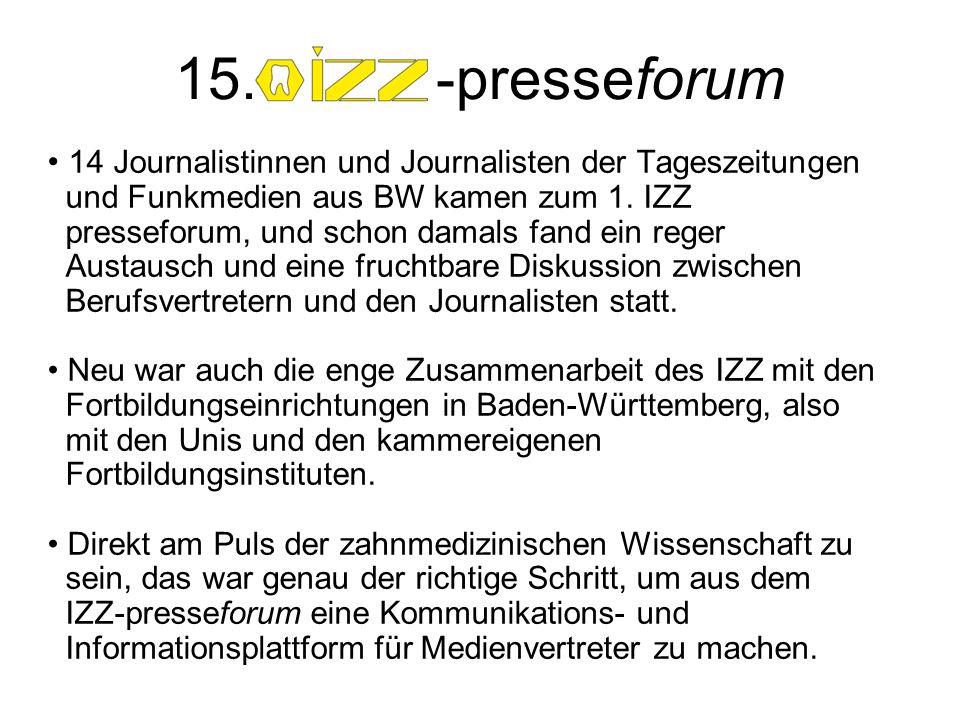 14 Journalistinnen und Journalisten der Tageszeitungen und Funkmedien aus BW kamen zum 1. IZZ presseforum, und schon damals fand ein reger Austausch u