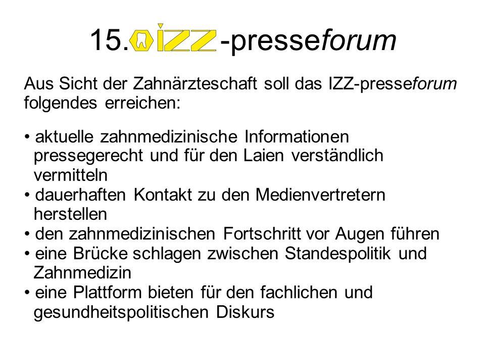 Aus Sicht der Zahnärzteschaft soll das IZZ-presseforum folgendes erreichen: aktuelle zahnmedizinische Informationen pressegerecht und für den Laien ve
