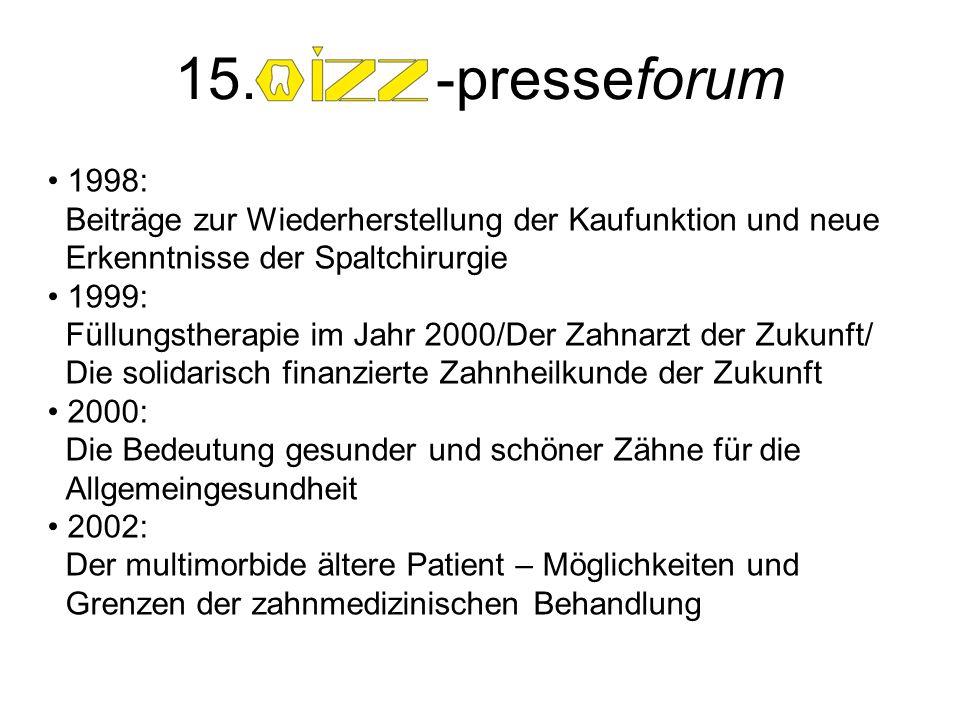 1998: Beiträge zur Wiederherstellung der Kaufunktion und neue Erkenntnisse der Spaltchirurgie 1999: Füllungstherapie im Jahr 2000/Der Zahnarzt der Zuk