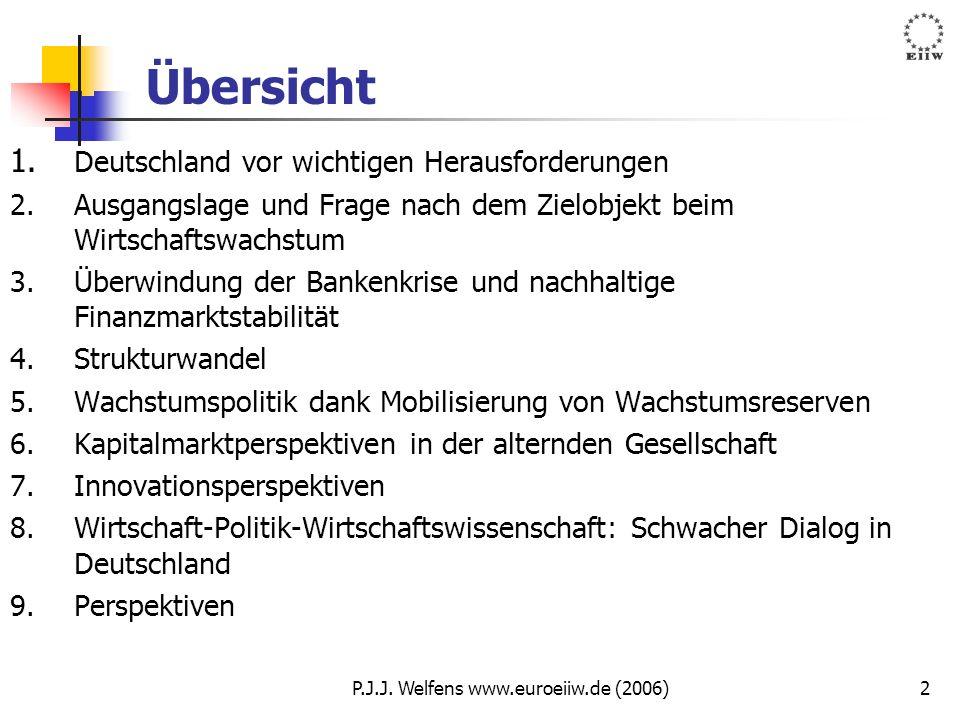 P.J.J. Welfens www.euroeiiw.de (2006)2 Übersicht 1. Deutschland vor wichtigen Herausforderungen 2.Ausgangslage und Frage nach dem Zielobjekt beim Wirt