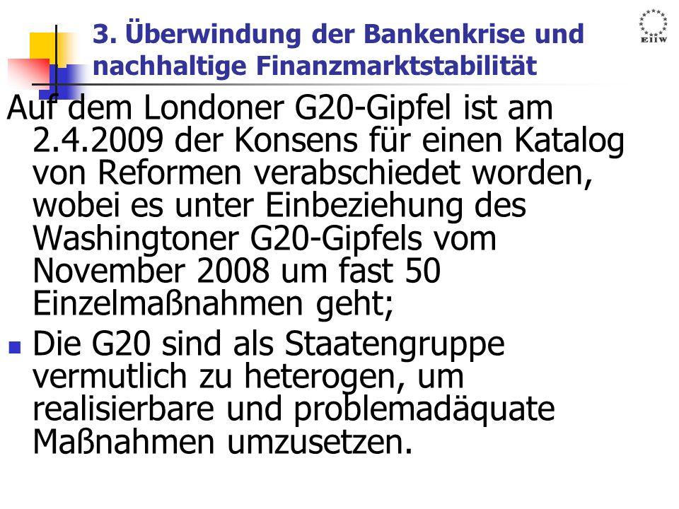 3. Überwindung der Bankenkrise und nachhaltige Finanzmarktstabilität Auf dem Londoner G20-Gipfel ist am 2.4.2009 der Konsens für einen Katalog von Ref
