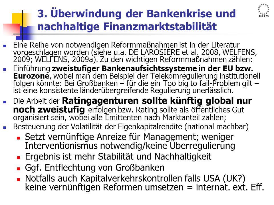 3. Überwindung der Bankenkrise und nachhaltige Finanzmarktstabilität Eine Reihe von notwendigen Reformmaßnahmen ist in der Literatur vorgeschlagen wor