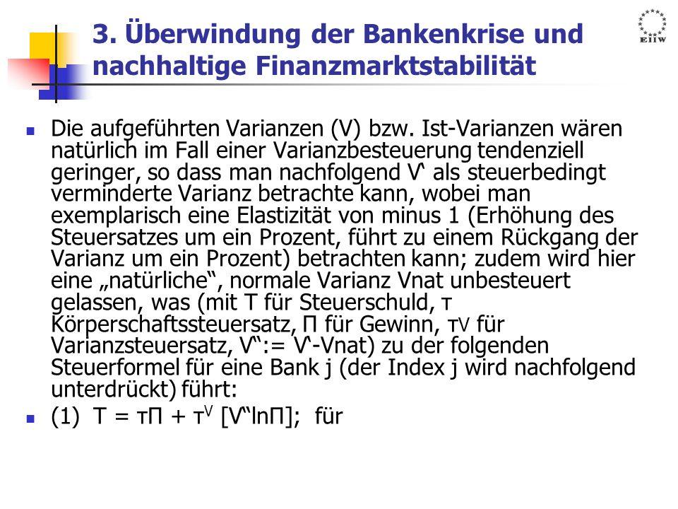 3. Überwindung der Bankenkrise und nachhaltige Finanzmarktstabilität Die aufgeführten Varianzen (V) bzw. Ist-Varianzen wären natürlich im Fall einer V