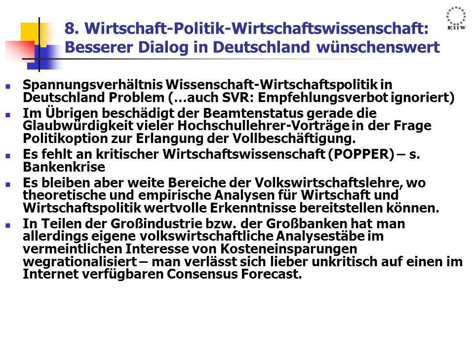 8. Wirtschaft-Politik-Wirtschaftswissenschaft: Besserer Dialog in Deutschland wünschenswert Spannungsverhältnis Wissenschaft-Wirtschaftspolitik in Deu