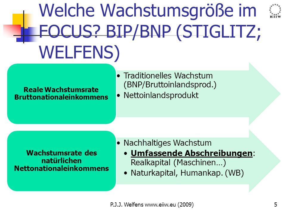 Welche Wachstumsgröße im FOCUS? BIP/BNP (STIGLITZ; WELFENS) Traditionelles Wachstum (BNP/Bruttoinlandsprod.) Nettoinlandsprodukt Reale Wachstumsrate B