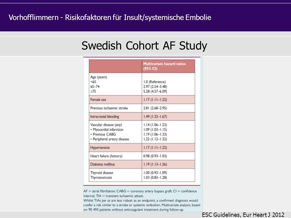 Swedish Cohort AF Study Vorhofflimmern - Risikofaktoren für Insult/systemische Embolie ESC Guidelines, Eur Heart J 2012