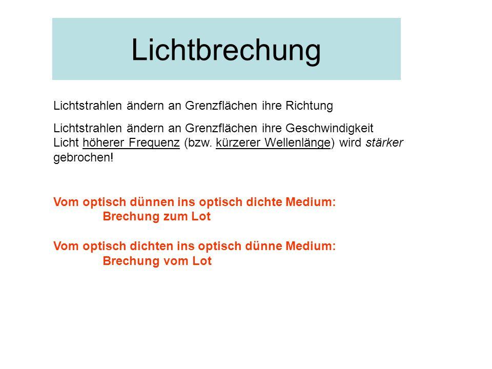 Lichtbrechung Lichtstrahlen ändern an Grenzflächen ihre Richtung Lichtstrahlen ändern an Grenzflächen ihre Geschwindigkeit Licht höherer Frequenz (bzw.