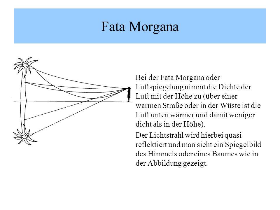 Bei der Fata Morgana oder Luftspiegelung nimmt die Dichte der Luft mit der Höhe zu (über einer warmen Straße oder in der Wüste ist die Luft unten wärmer und damit weniger dicht als in der Höhe).