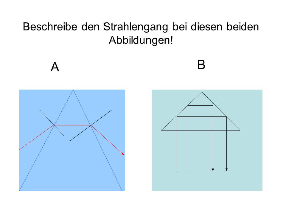 Beschreibe den Strahlengang bei diesen beiden Abbildungen! A B