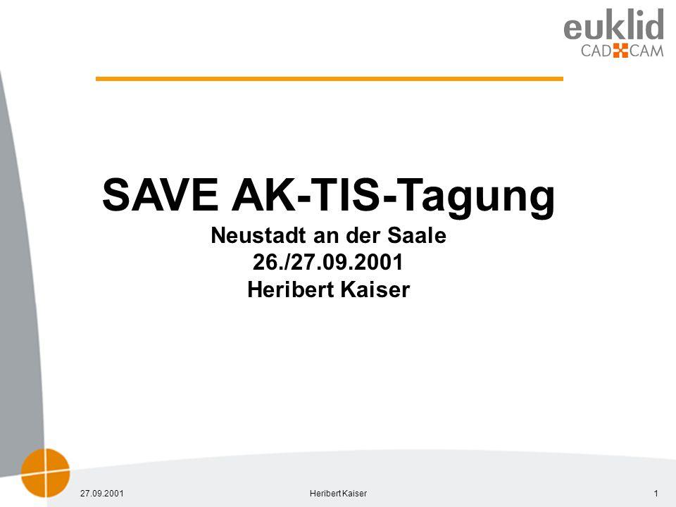 27.09.2001Heribert Kaiser1 SAVE AK-TIS-Tagung Neustadt an der Saale 26./27.09.2001 Heribert Kaiser