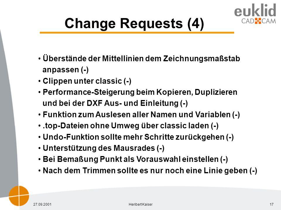 27.09.2001Heribert Kaiser17 Change Requests (4) Überstände der Mittellinien dem Zeichnungsmaßstab anpassen (-) Clippen unter classic (-) Performance-Steigerung beim Kopieren, Duplizieren und bei der DXF Aus- und Einleitung (-) Funktion zum Auslesen aller Namen und Variablen (-).top-Dateien ohne Umweg über classic laden (-) Undo-Funktion sollte mehr Schritte zurückgehen (-) Unterstützung des Mausrades (-) Bei Bemaßung Punkt als Vorauswahl einstellen (-) Nach dem Trimmen sollte es nur noch eine Linie geben (-)