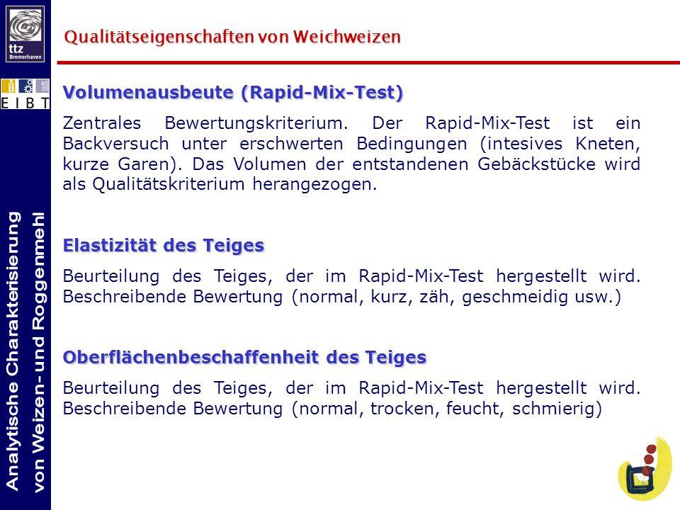 Qualitätseigenschaften von Weichweizen Volumenausbeute (Rapid-Mix-Test) Zentrales Bewertungskriterium. Der Rapid-Mix-Test ist ein Backversuch unter er