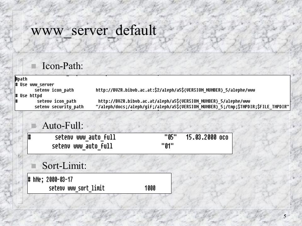 16 Ergebnisse speichern (in Betrieb nehmen) in /aleph/u50_5/alephe/www_a_ger: start-2: Menüpunkte sind nur auskommentiert (Speichern / Sichern) result-set-save (-head, -body, -tail) short-save allenfalls: angebotene Ausgabeformate bestimmen (analog zu Ergebnisse versenden) n erzeugt Ergebnisfile am lokalen PC n Funktionalität ist relativ langsam (vermutlich wegen der Aufbereitung der Ergebnisse)