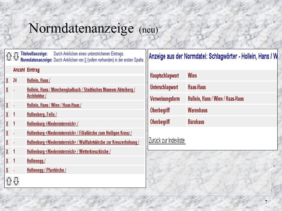 8 Normdatenanzeige verbessern n /aleph/u50_5/acc12/tab/edit_doc_999.eng kopieren auf.ger (fehlt) n editieren für Web-Anzeige (G u.