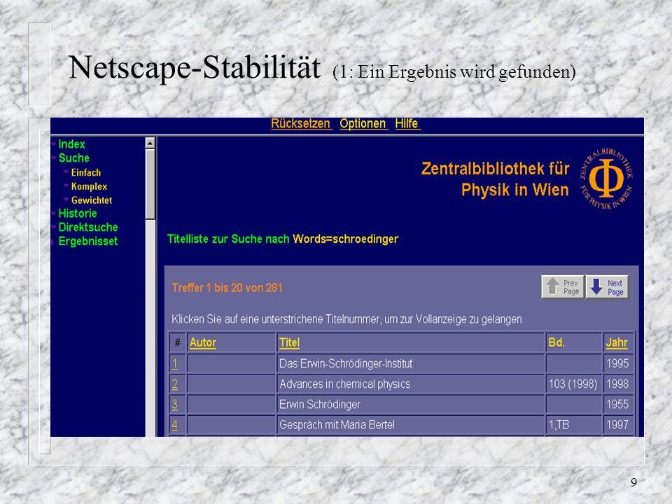 9 Netscape-Stabilität (1: Ein Ergebnis wird gefunden)